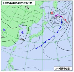 4月16日(月)9時の予想天気図