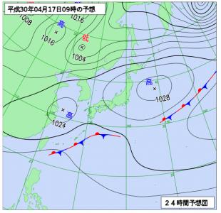 4月17日(火)9時の予想天気図