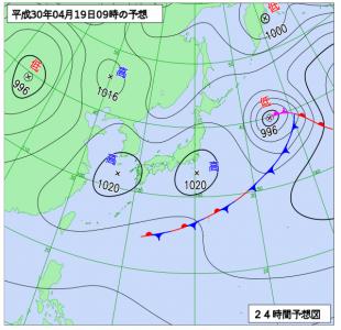 4月19日(木)9時の予想天気図