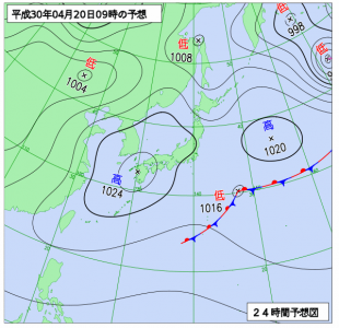 4月20日(金)9時の予想天気図