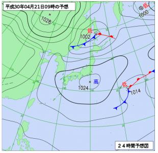 4月21日(土)9時の予想天気図