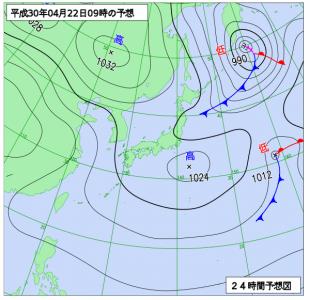 4月22日(日)9時の予想天気図