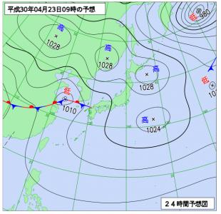 4月23日(月)9時の予想天気図