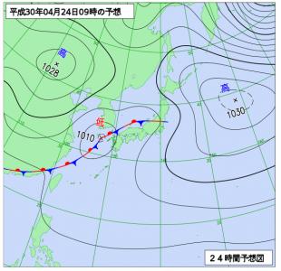4月24日(火)9時の予想天気図