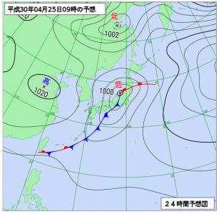 4月25日(水)9時の予想天気図