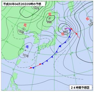 4月26日(木)9時の予想天気図