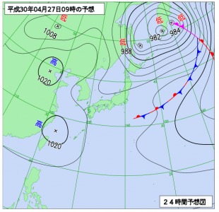 4月27日(金)9時の予想天気図