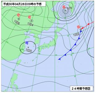 4月28日(土)9時の予想天気図