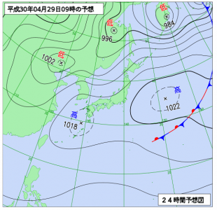 4月29日(日祝)9時の予想天気図