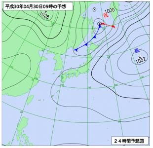 4月30日(月振)9時の予想天気図