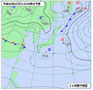 5月1日(火)9時の予想天気図