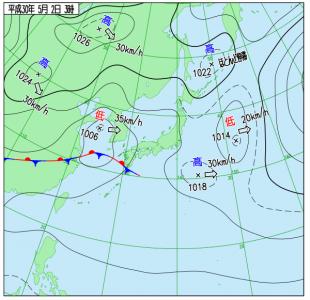 5月2日(水)3時の実況天気図