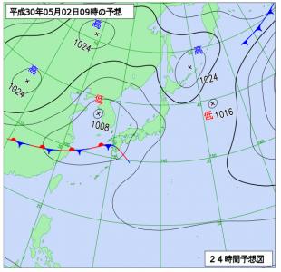 5月2日(水)9時の予想天気図