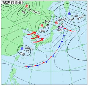 5月4日(金祝)6時の実況天気図