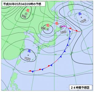 5月4日(金祝)9時の予想天気図