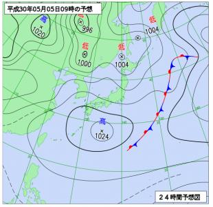 5月5日(土祝)9時の予想天気図