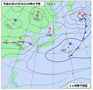 5月6日(日)9時の予想天気図