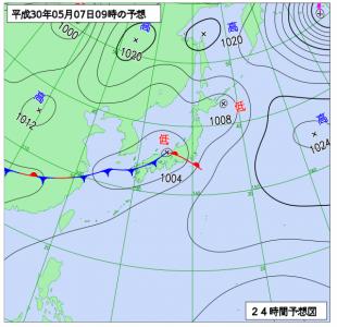 5月7日(月)9時の予想天気図