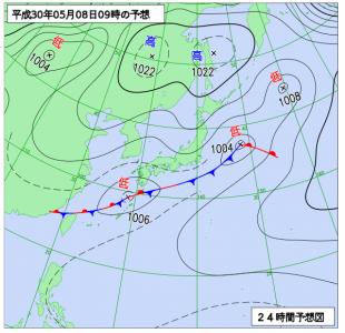 5月8日(火)9時の予想天気図