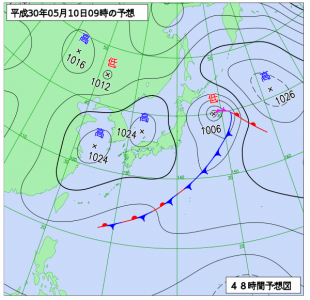 5月10日(木)9時の予想天気図