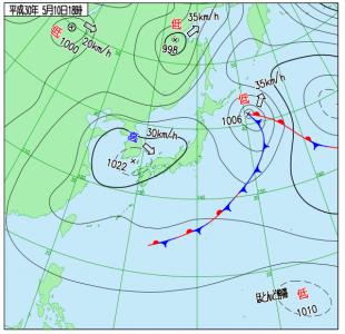 5月10日(木)15時の実況天気図
