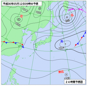 5月12日(土)9時の予想天気図