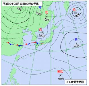 5月13日(日)9時の予想天気図