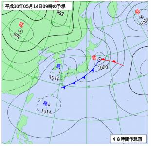 5月14日(月)9時の予想天気図