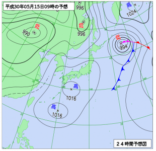 5月15日(火)9時の予想天気図