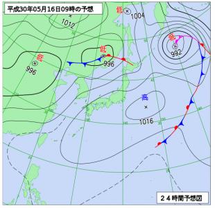5月16日(水)9時の予想天気図