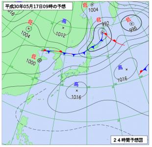 5月17日(木)9時の予想天気図
