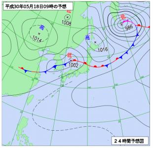 5月18日(金)9時の予想天気図