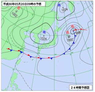 5月20日(日)9時の予想天気図