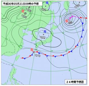 5月21日(月)9時の予想天気図