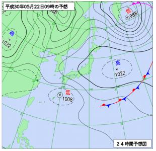 5月22日(火)9時の予想天気図