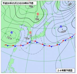 5月23日(水)9時の予想天気図