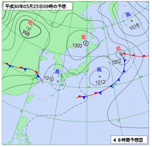 5月25日(金)9時の予想天気図