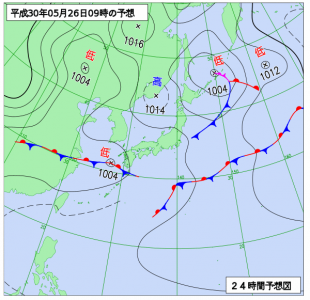 5月26日(土)9時の予想天気図