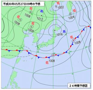5月27日(日ビ)9時の予想天気図