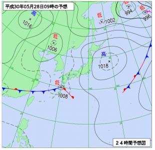 5月28日(月)9時の予想天気図