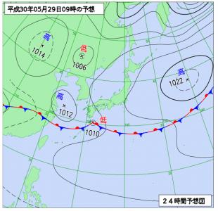 5月29日(火)9時の予想天気図