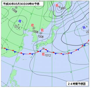 5月30日(水)9時の予想天気図