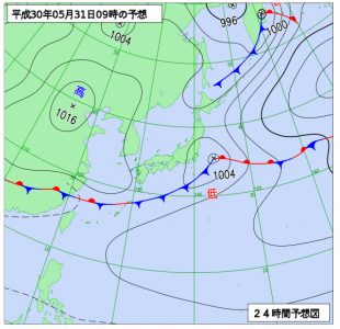 5月31日(木)9時の予想天気図