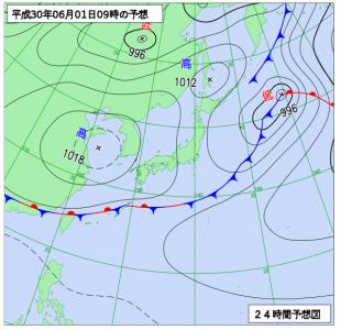6月1日(金)9時の予想天気図