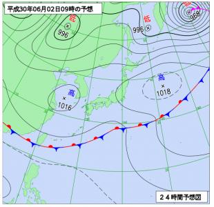 6月2日(土)9時の予想天気図