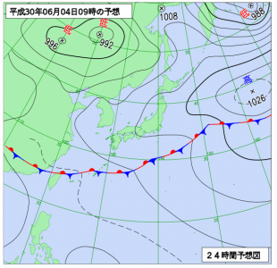 6月4日(月)9時の予想天気図