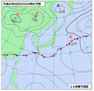 6月5日(火)9時の予想天気図