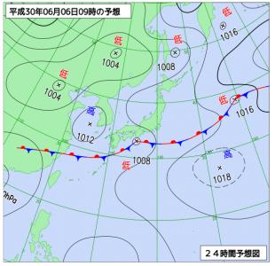 6月6日(水)9時の予想天気図