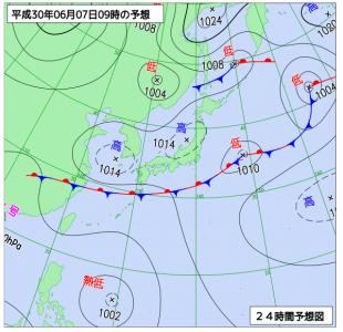 6月7日(木)9時の予想天気図