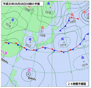 6月8日(金)9時の予想天気図